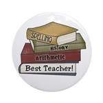 Stack of Books Teacher Ornament (Round)