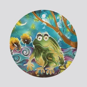 cute frog in the moonlight Round Ornament