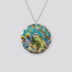 cute frog in the moonlight Necklace Circle Charm