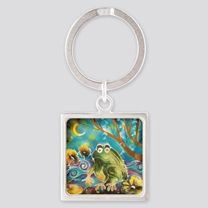cute frog in the moonlight Square Keychain