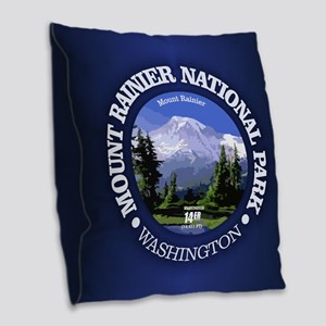 Mt Rainier NP Burlap Throw Pillow