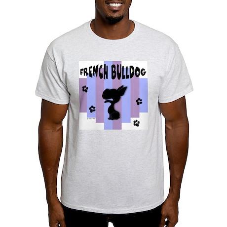 French Bulldog Stripe Ash Grey T-Shirt