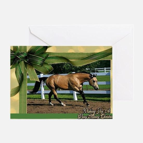 Buckskin Quarter Horse Christmas Greeting Card