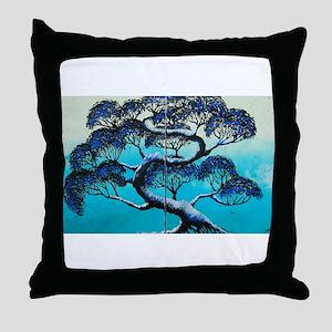 Blue Bonsai Serenity Throw Pillow