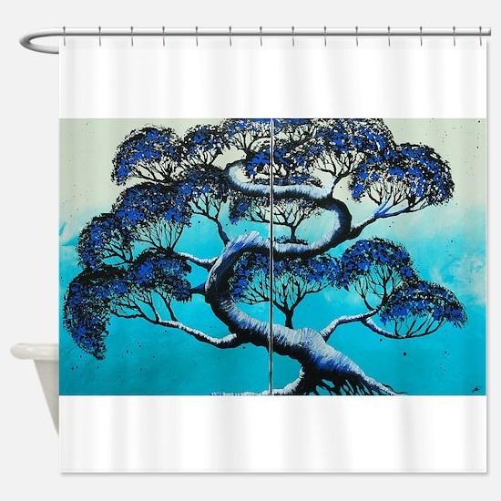 Blue Bonsai Serenity Shower Curtain