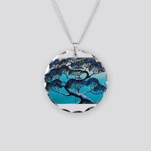Blue Bonsai Serenity Necklace Circle Charm