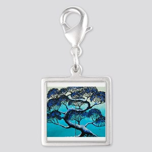 Blue Bonsai Serenity Silver Square Charm