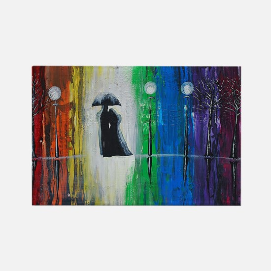 Prismatic Rain Romance Rectangle Magnet
