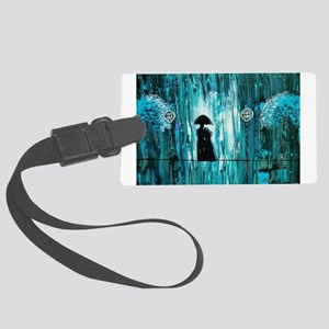 Love in the Teal Rain Large Luggage Tag