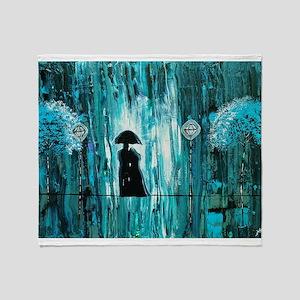 Love in the Teal Rain Throw Blanket