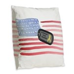 Support Our Troops Burlap Throw Pillow
