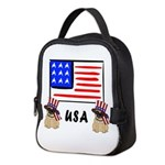 Patriotic USA Pugs Neoprene Lunch Bag