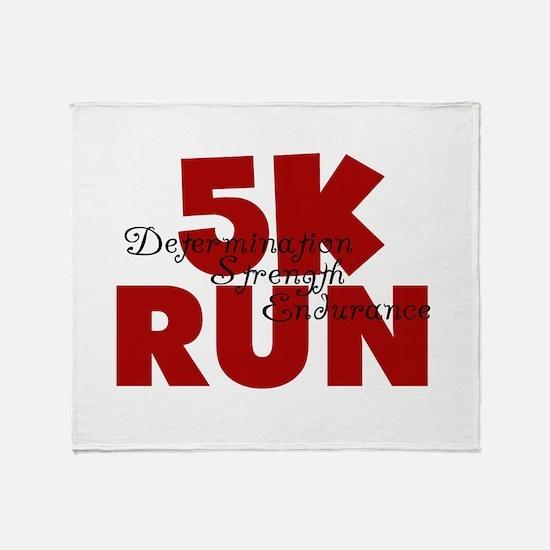 5K Run Red Throw Blanket