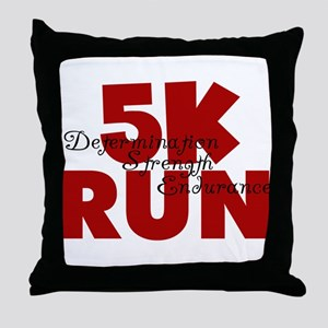 5K Run Red Throw Pillow