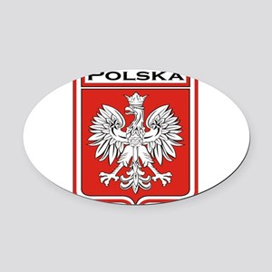 Polska Shield / Poland Shield Oval Car Magnet