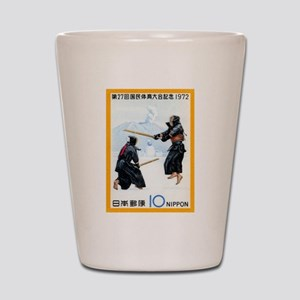 Vintage 1972 Japan Kendo Postage Stamp Shot Glass