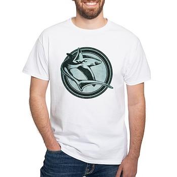 Distressed Wild Shark Stamp White T-Shirt