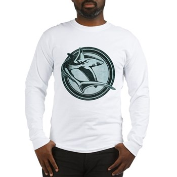 Distressed Wild Shark Stamp Long Sleeve T-Shirt