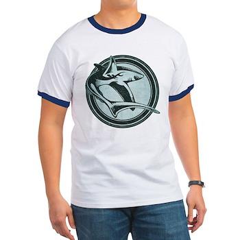 Distressed Wild Shark Stamp Ringer T-Shirt