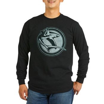 Distressed Wild Shark Stamp Long Sleeve Dark T-Shi