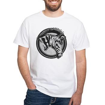 Distressed Wild Zebra Stamp White T-Shirt