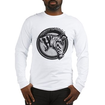Distressed Wild Zebra Stamp Long Sleeve T-Shirt