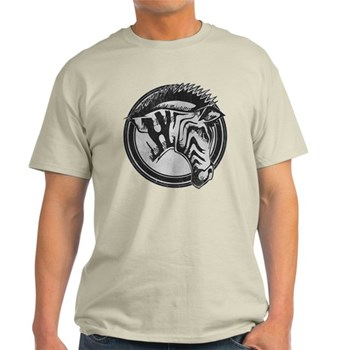 Distressed Wild Zebra Stamp Light T-Shirt