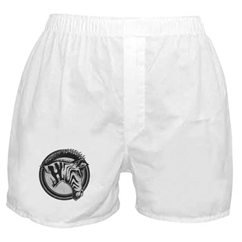 Distressed Wild Zebra Stamp Boxer Shorts