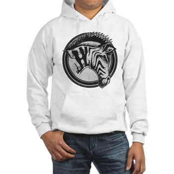 Distressed Wild Zebra Stamp Hooded Sweatshirt