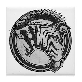 Distressed Wild Zebra Stamp Tile Coaster