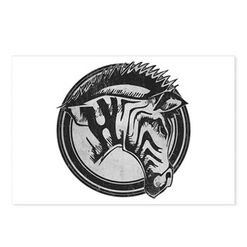 Distressed Wild Zebra Stamp Postcards (Package of