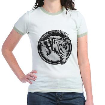 Distressed Wild Zebra Stamp Jr. Ringer T-Shirt