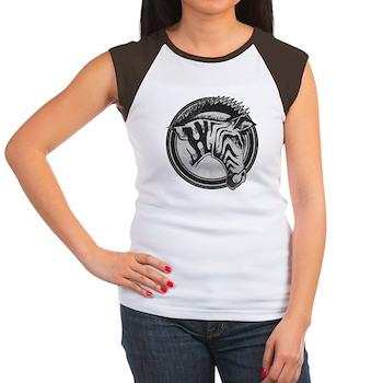 Distressed Wild Zebra Stamp Women's Cap Sleeve T-S