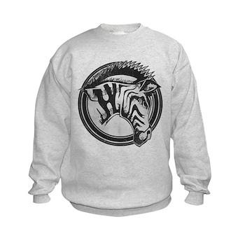 Distressed Wild Zebra Stamp Kids Sweatshirt