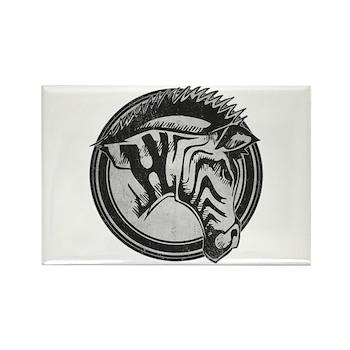 Distressed Wild Zebra Stamp Rectangle Magnet