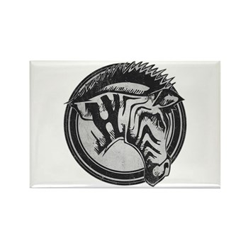 Distressed Wild Zebra Stamp Rectangle Magnet (100
