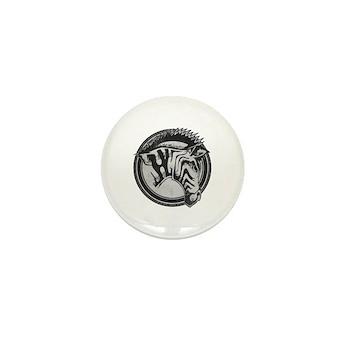 Distressed Wild Zebra Stamp Mini Button