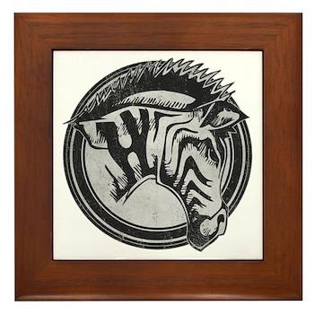 Distressed Wild Zebra Stamp Framed Tile