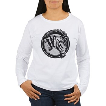 Distressed Wild Zebra Stamp Women's Long Sleeve T-