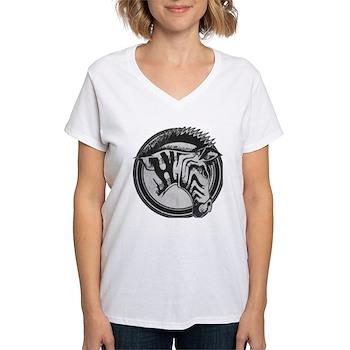Distressed Wild Zebra Stamp Women's V-Neck T-Shirt
