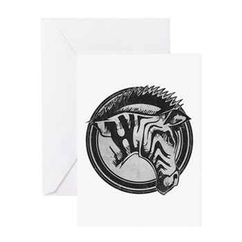 Distressed Wild Zebra Stamp Greeting Card
