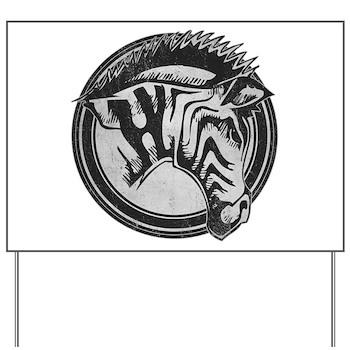 Distressed Wild Zebra Stamp Yard Sign