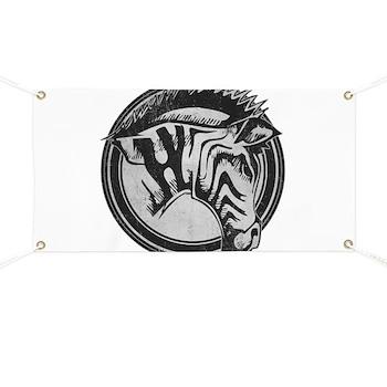 Distressed Wild Zebra Stamp Banner