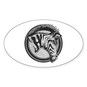 Distressed Wild Zebra Stamp Oval Sticker (10 pack)