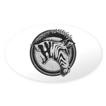 Distressed Wild Zebra Stamp Oval Sticker (50 pack)