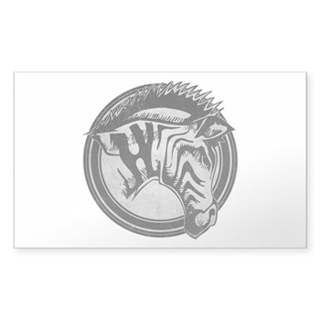 Distressed Wild Zebra Stamp Rectangle Sticker (50