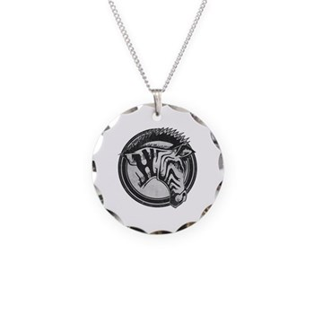 Distressed Wild Zebra Stamp Necklace Circle Charm