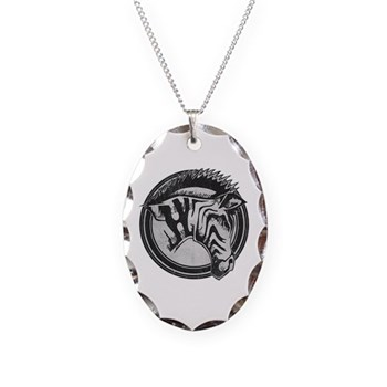 Distressed Wild Zebra Stamp Necklace Oval Charm