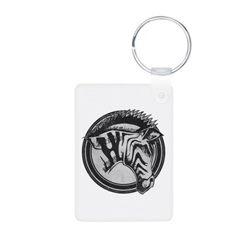 Distressed Wild Zebra Stamp Aluminum Photo Keychai