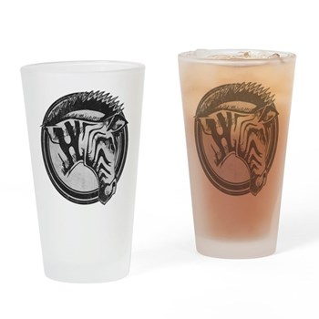 Distressed Wild Zebra Stamp Drinking Glass